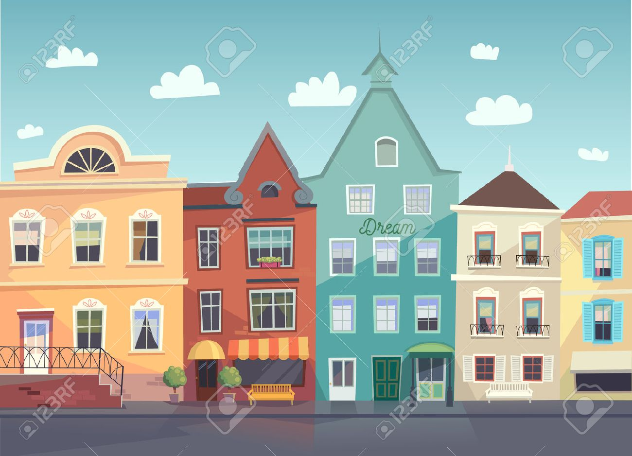 Sunny City street. Doors and windows boutiques, shops, background. - 54006019
