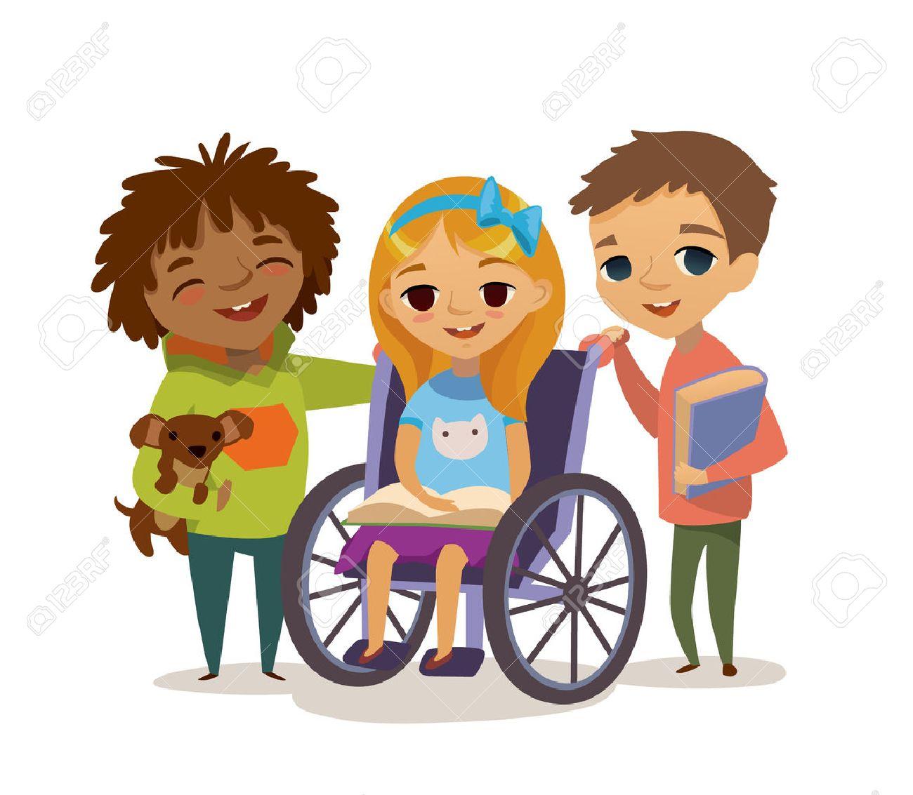 Concept De La Petite Enfance Heureuse Prendre Soin De L Enfant Handicapé Apprendre Et Jouer Ensemble Les Enfants Handicapés Aider Les Intégrer