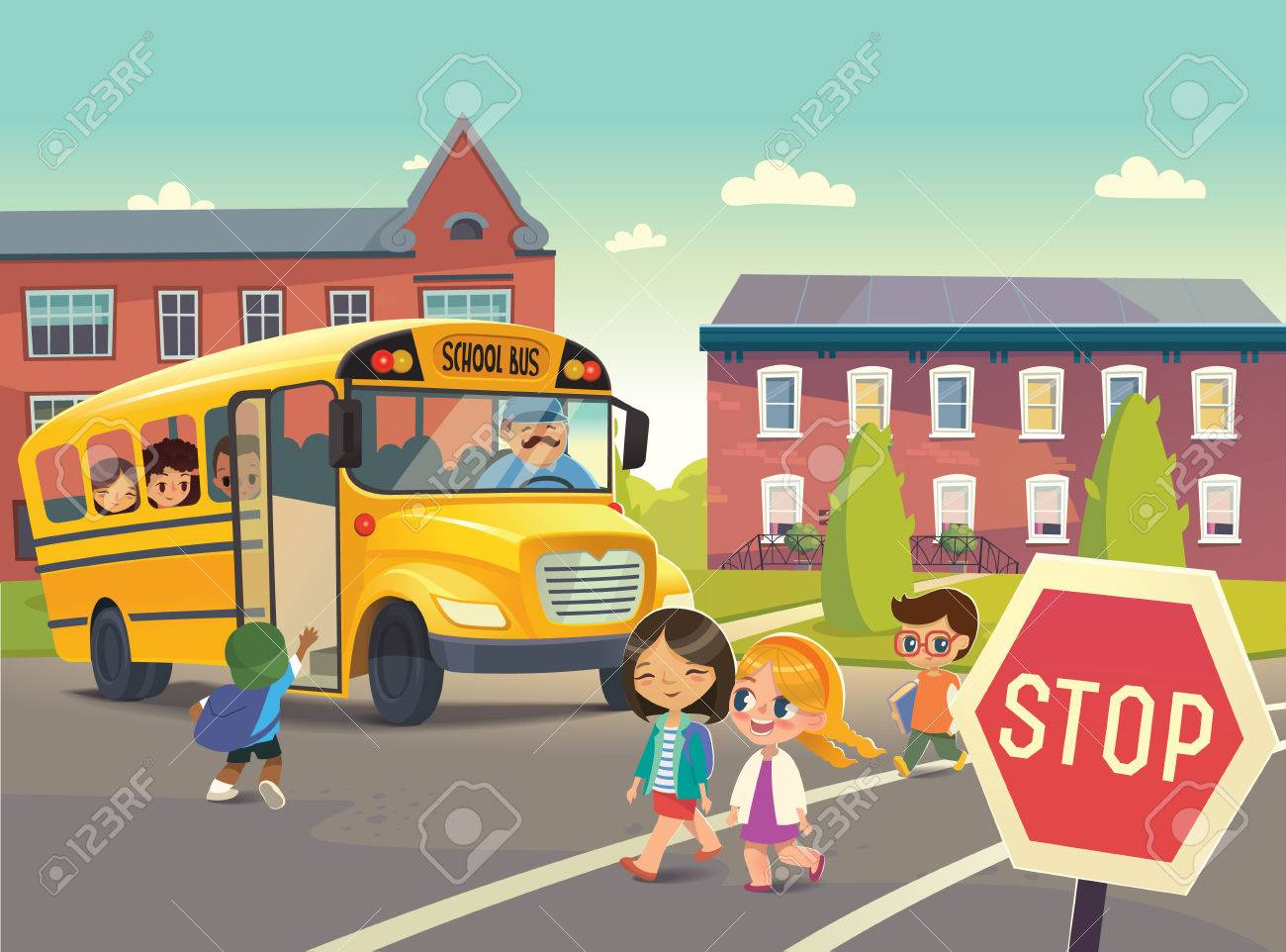 Back To School Safety. Illustration depicting School bus stop, Child boarding school bus. Passing a school bus. Kids crossing the road. Vector illustration. - 63012257