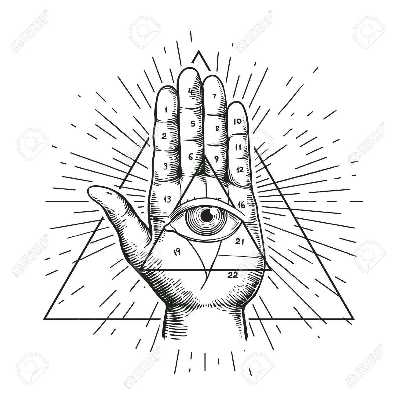Hipster illustration with sunburst hand and all seeing eye hipster illustration with sunburst hand and all seeing eye symbol nside triangle pyramid biocorpaavc Gallery
