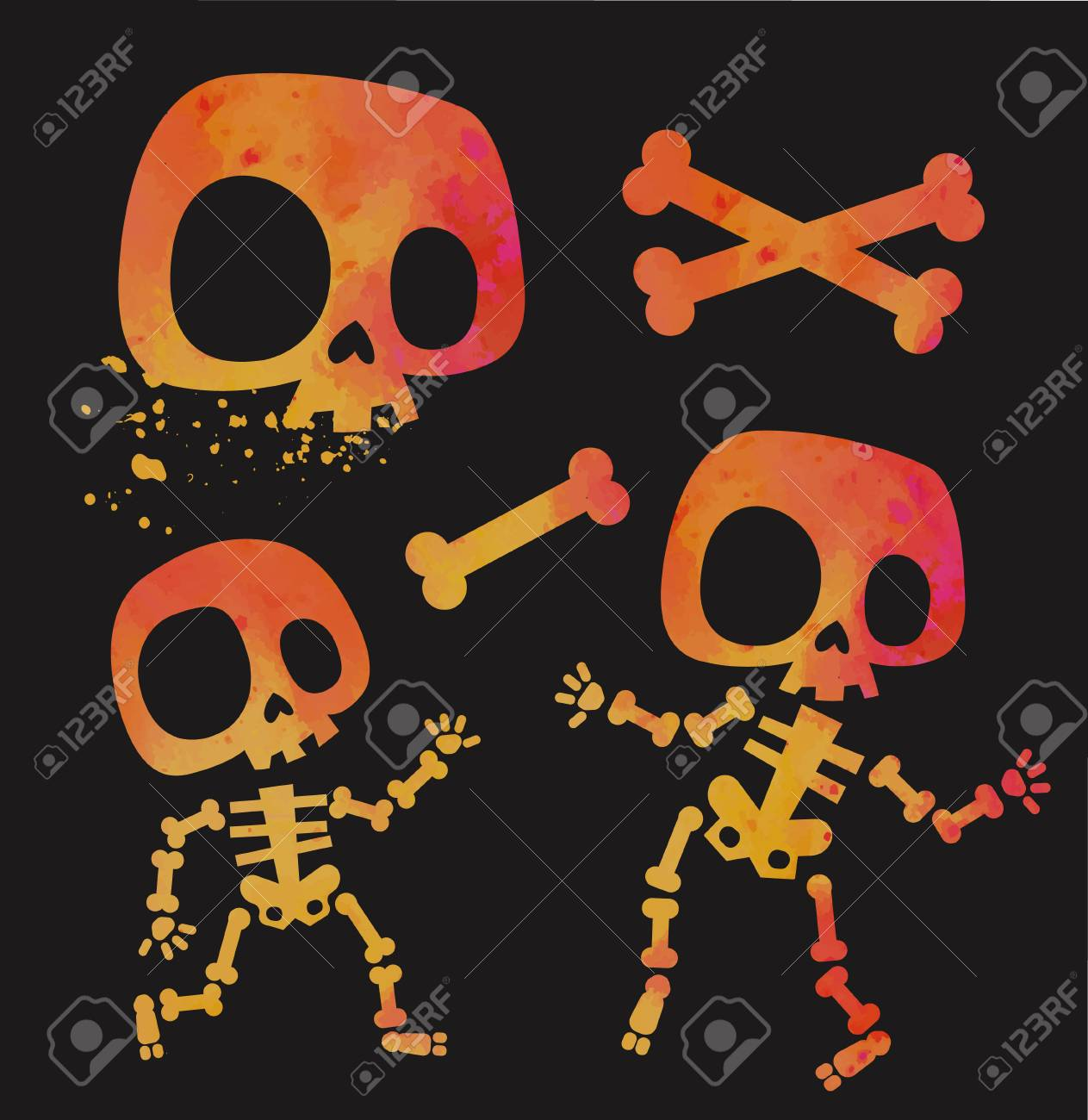 Funny Little Death With A Large Scythe And Pumpkin Title Happy Halloween From Bones Isolated