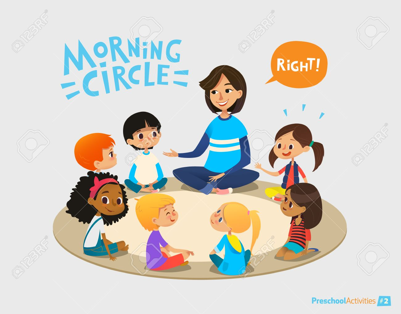 Smiling kindergarten teacher talks to children sitting in circle and asks them questions. Preschool activities and early childhood education concept. Vector illustration for poster, website banner. - 69422951