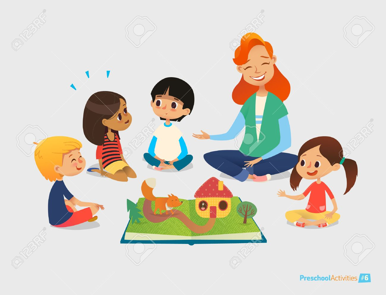 Female teacher tells fairy tales using pop-up book, children