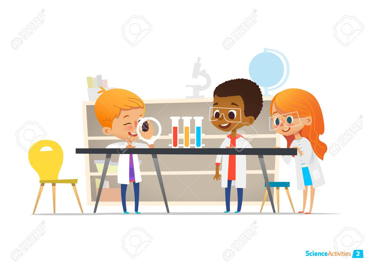 School children in lab clothing and safety glasses conduct scientific experiment with chemicals in chemistry laboratory. Educational science activities for kids. Vector illustration for website, ad. - 69810463