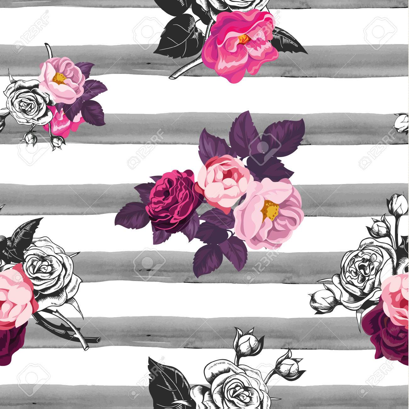 Floral Seamless Pattern With Half Colored Bunches Of Flowers