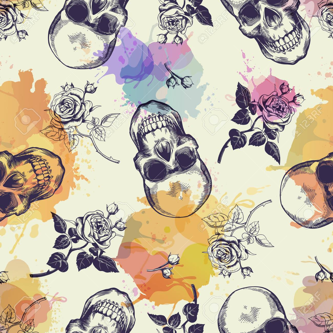 Seamless pattern with skulls and rose flowers drawn in engraving style and translucent colorful blots. Modern and trendy backdrop. Vector illustration for wallpaper, fabric print, poster, flyer. - 72320997