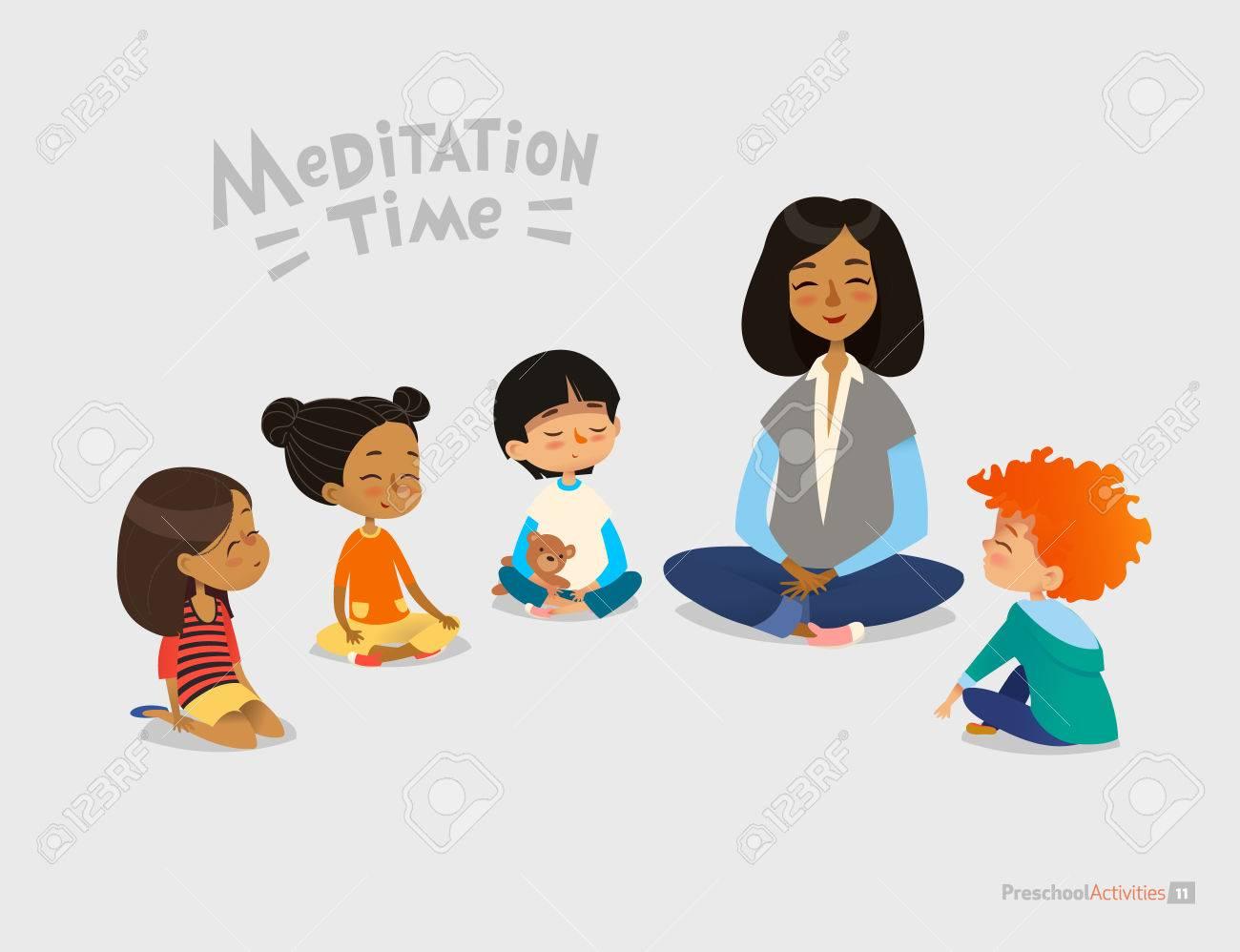Preschool female teacher and smiling kids sitting in circle on floor and doing yoga exercise. Meditation lesson in kindergarten concept. Vector illustration for banner, website, poster, postcard. - 73779421