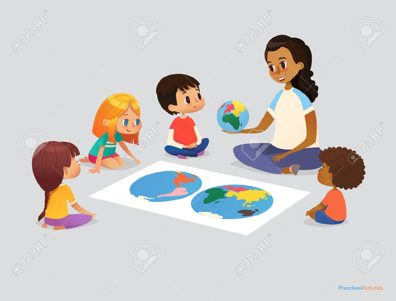 Happy school kids and teacher sit in circle around atlas and discuss geographical questions during lesson. Preschool activities concept. Vector illustration for poster, advertisement, website, banner - 77925537