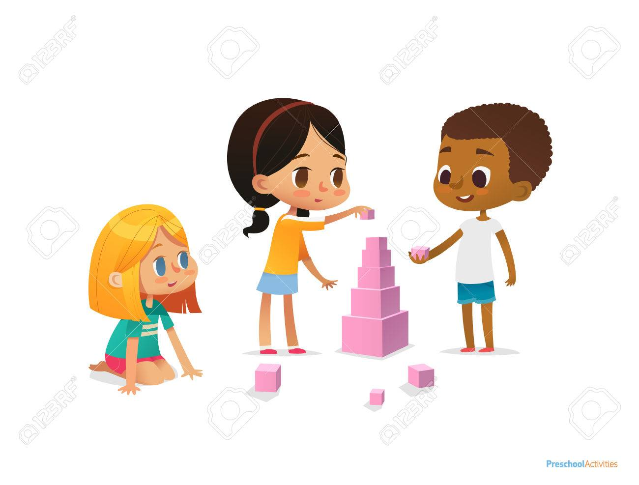Multiracial children build tower with pink blocks. Kids play using kit with bright colored cubes. Montessori materials concept. Vector illustration for poster, banner, website, flyer, advertisement - 77925540