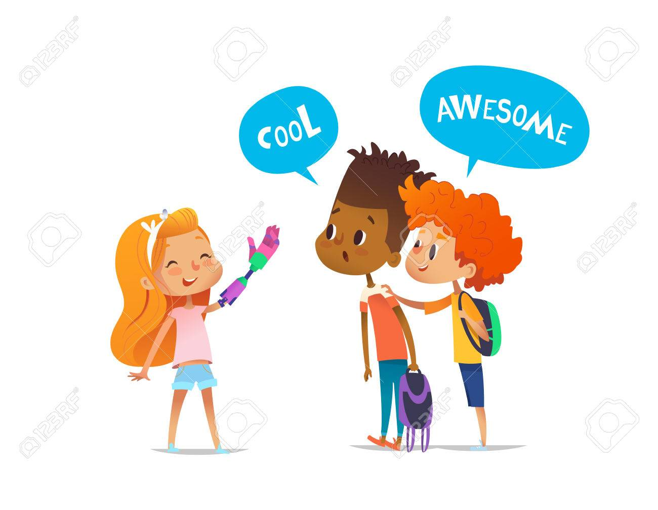 Smiling amputee girl shows robotic arm to two classmates, boys amazedly look at it and encourage her. Childrens friendship concept. Vector illustration for banner, website, advertisement, postcard - 78978742