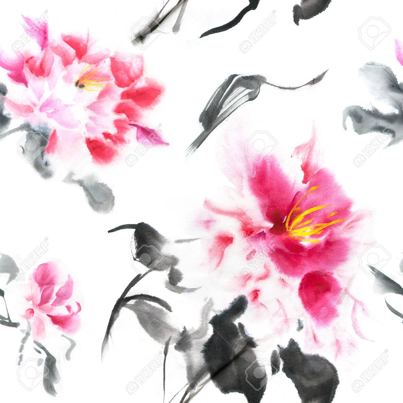 Beautiful Seamless Pattern With Pink Peonies Painted With Ink