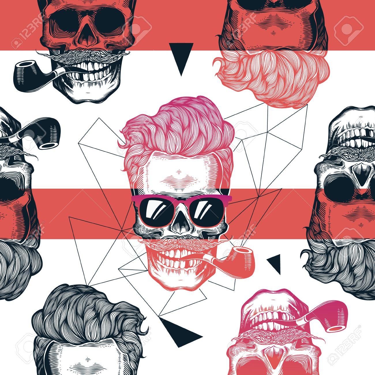 da8d6face2 Kitschy Patrón Sin Fisuras, Calaveras Humanas Con Peinado Hipster, Gafas De  Sol Con Estilo, Bigote Y Pipa De Tabaco Contra El Contorno Geométrico Y ...