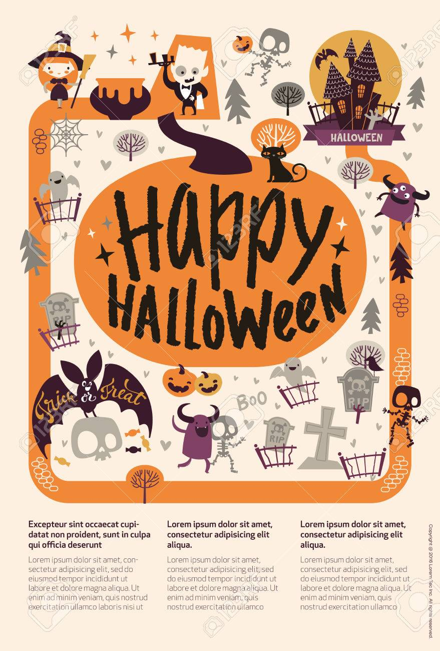 Lovely Holiday Happy Halloween Flyer Template With Funny And ...