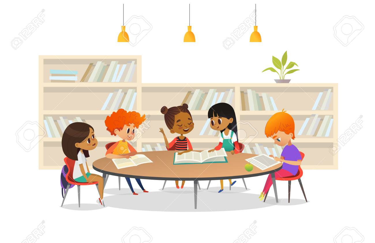 Group of children sitting around table at school library and listening to girl reading book out loud against bookcase or shelving on background. Cartoon vector illustration for banner, poster. - 90682319