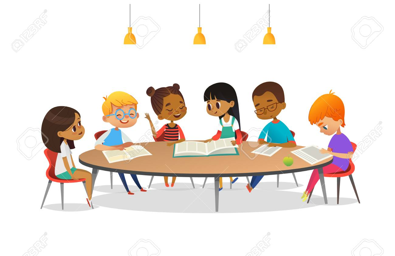 Boys and girls sitting around round table, studying, reading books and discuss them. Kids talking to each other at school library. Cartoon vector illustration for banner, poster, advertisement. - 90682315
