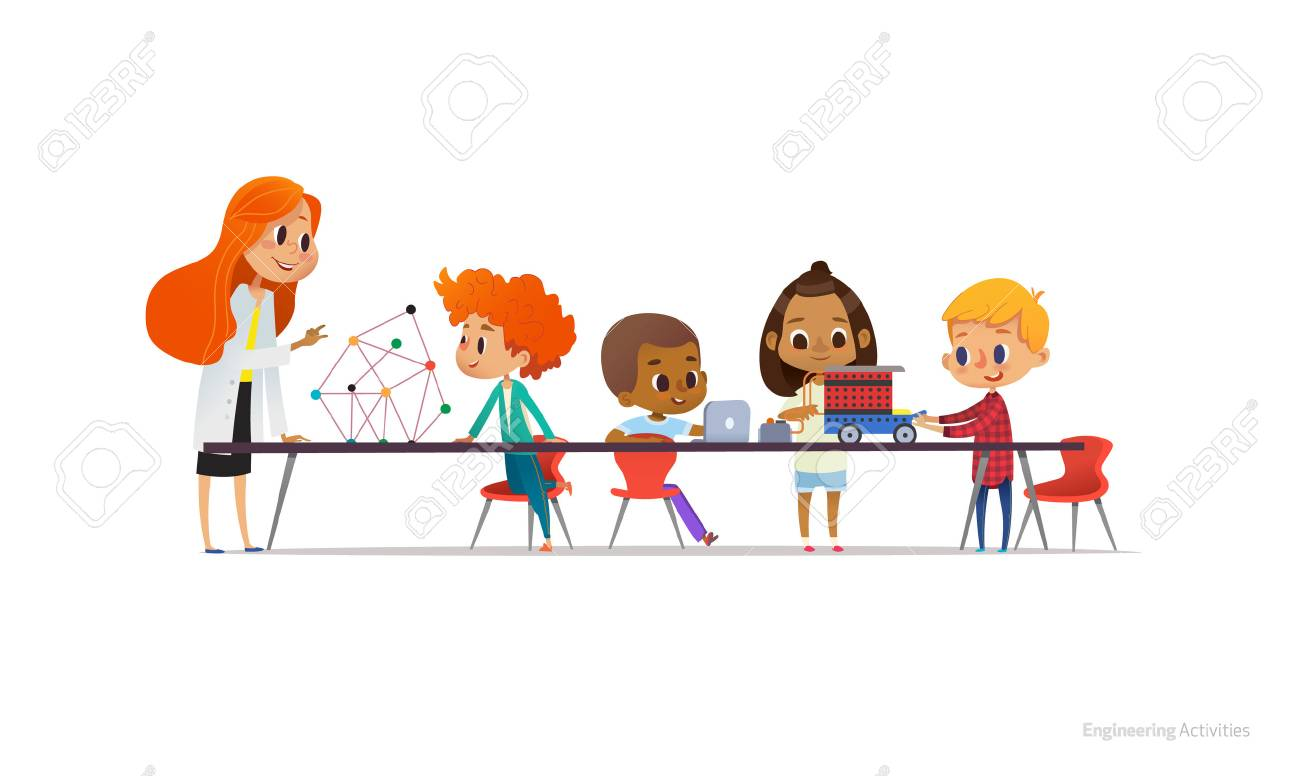 Redhead female teacher and school children standing and sitting around table, building and programming robotic car during engineering lesson. Vector illustration for banner, poster, advertisement - 90678642