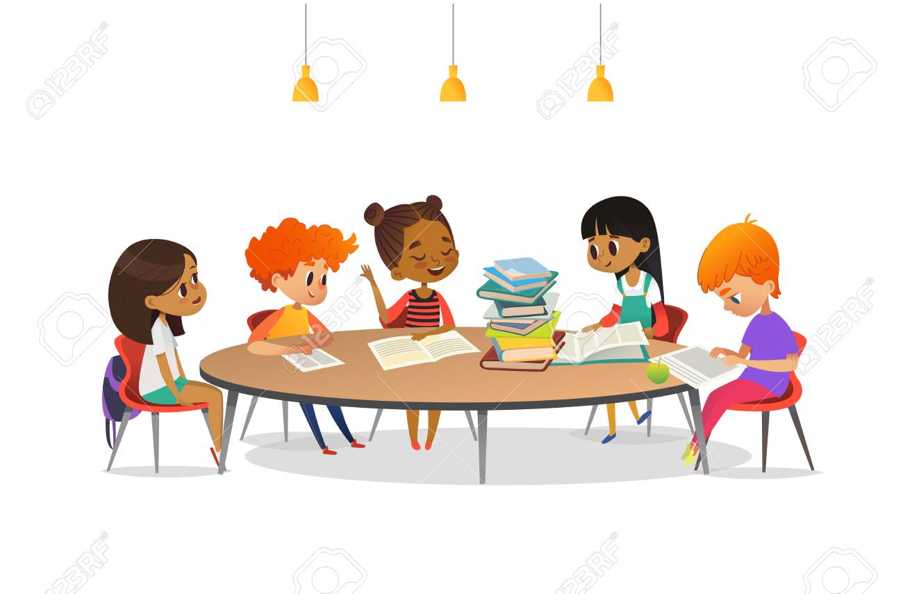 Multiracial children sitting around round table with pile of books on it and listening to girl reading aloud. School literature club. Cute cartoon characters. Vector illustration for banner, poster - 90680478
