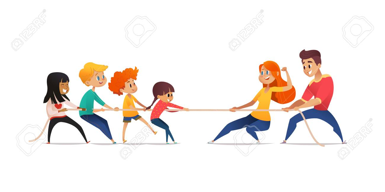 Mom, dad and children pulling opposite ends of rope. Tug of war competition between parents and their kids. Concept of family sports activity, generational conflict. Cartoon vector illustration - 91335913