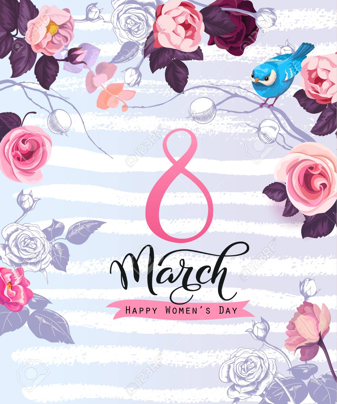 Womens Day Greeting Card Template With Elegant Lettering Beautiful