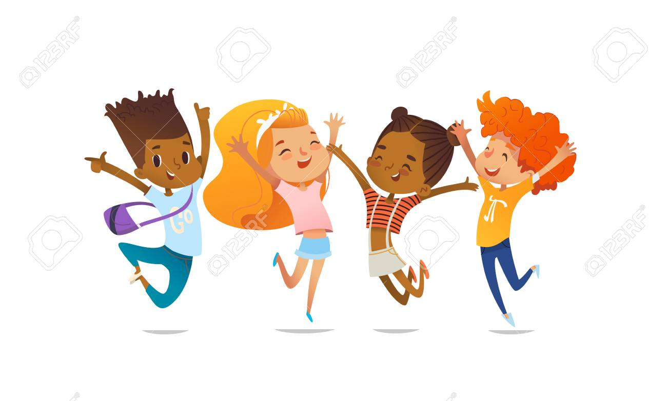 Joyous school friends happily jumping with their hands up against purple background. Concept of true friendship and friendly meeting. Vector illustration for website banner, poster, flyer, invitation. - 97014855