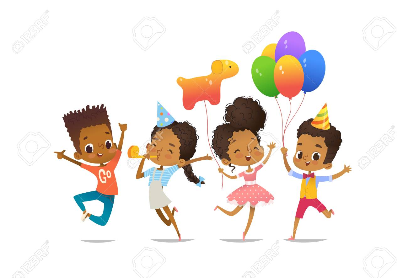 Group of African-American happy boys and girls with the balloons and birthday hats - 97101132