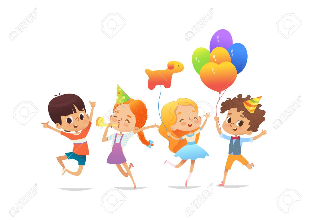 Happy school children with the balloons and birthday hats joyfully jumping - 97101185