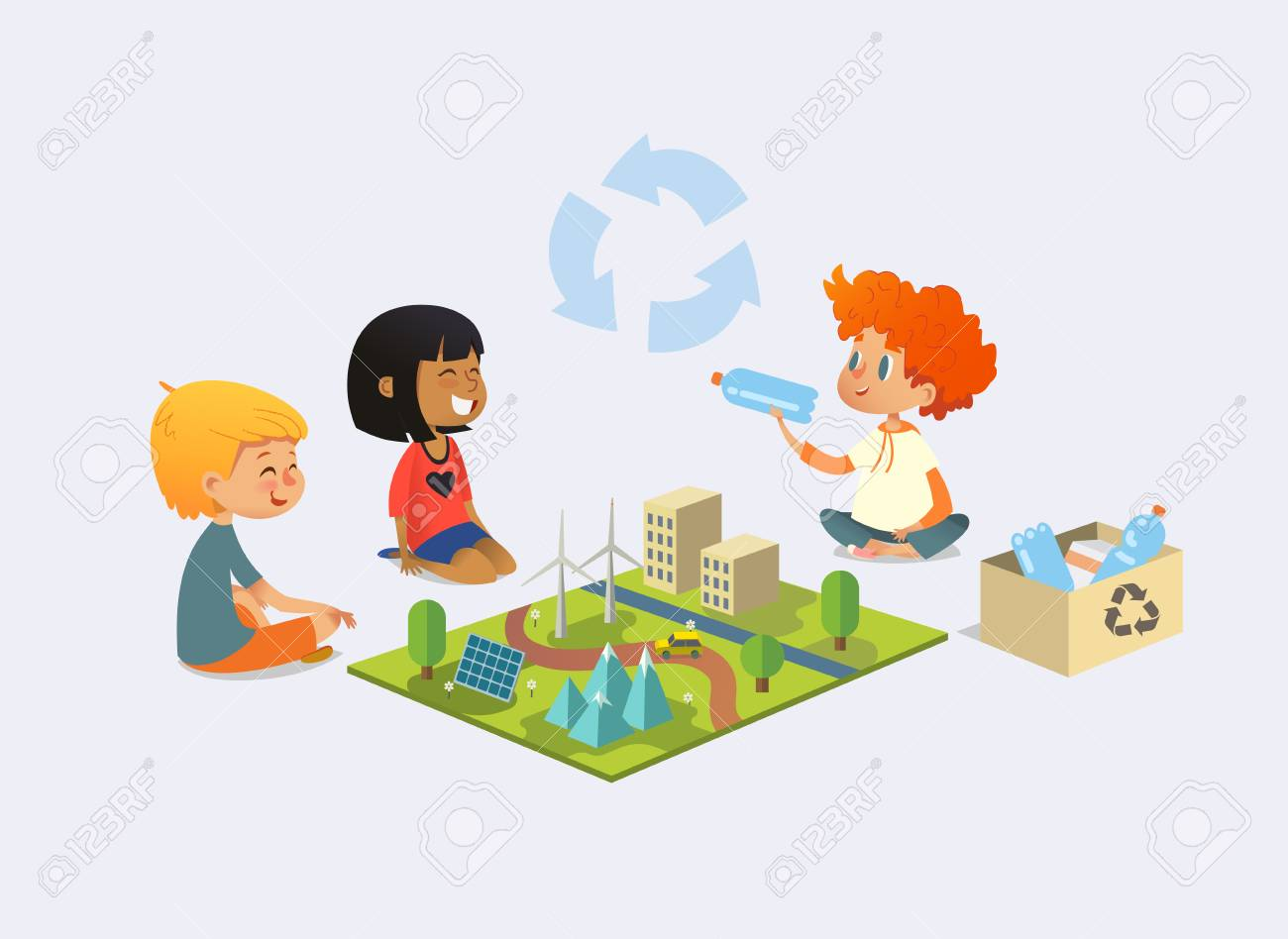 Happy kids sit on floor in circle around toy model with wind and solar power plants, redhead boy demonstrates plastic bottles and discuss recycling and ecological waste disposal. Vector illustration. - 101112289