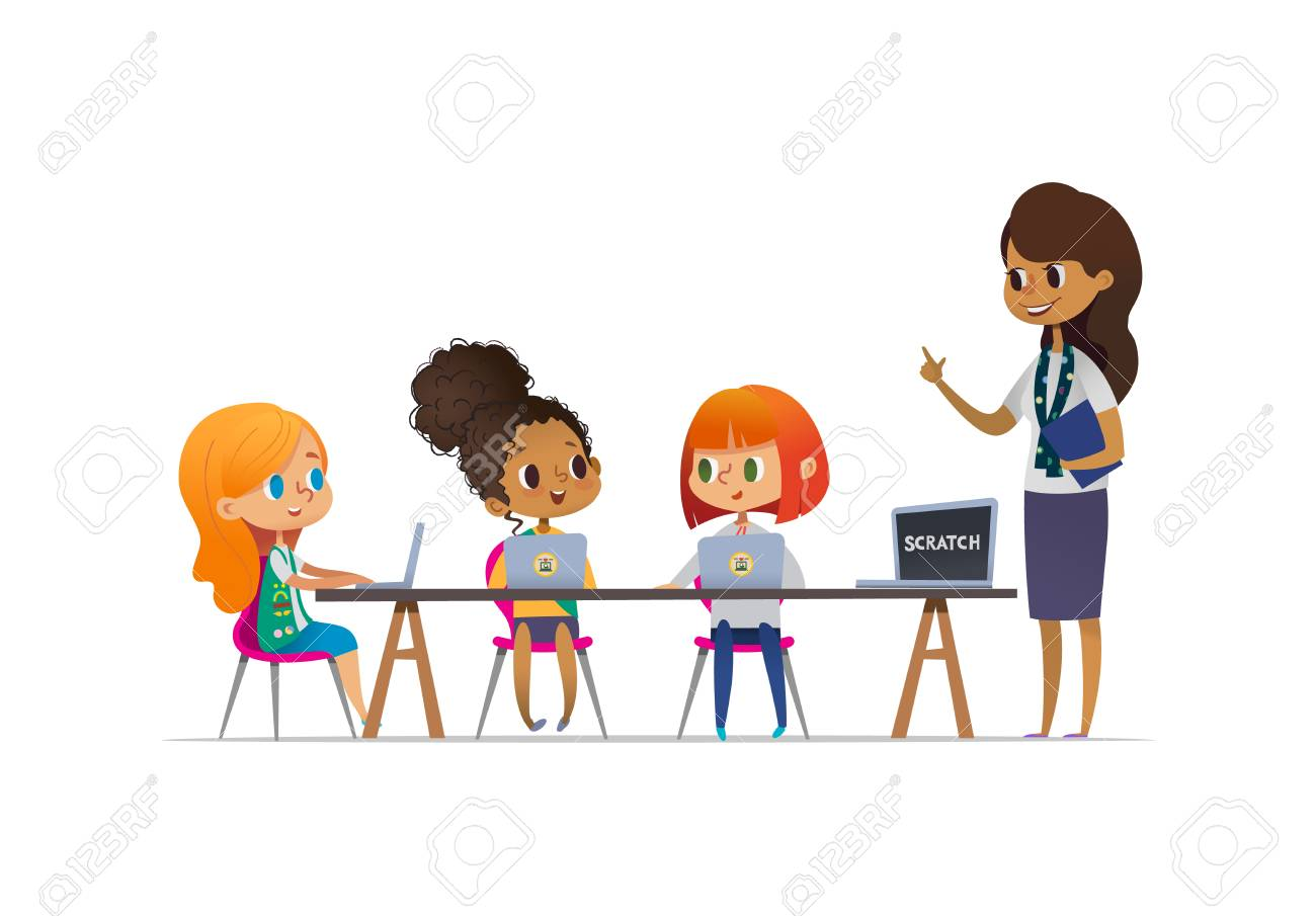 Happy girl scouts sitting at laptops and learning programming during lesson, smiling female troop leader standing near them. Concept of coding for children in scouting camp. Vector illustration. - 103907430