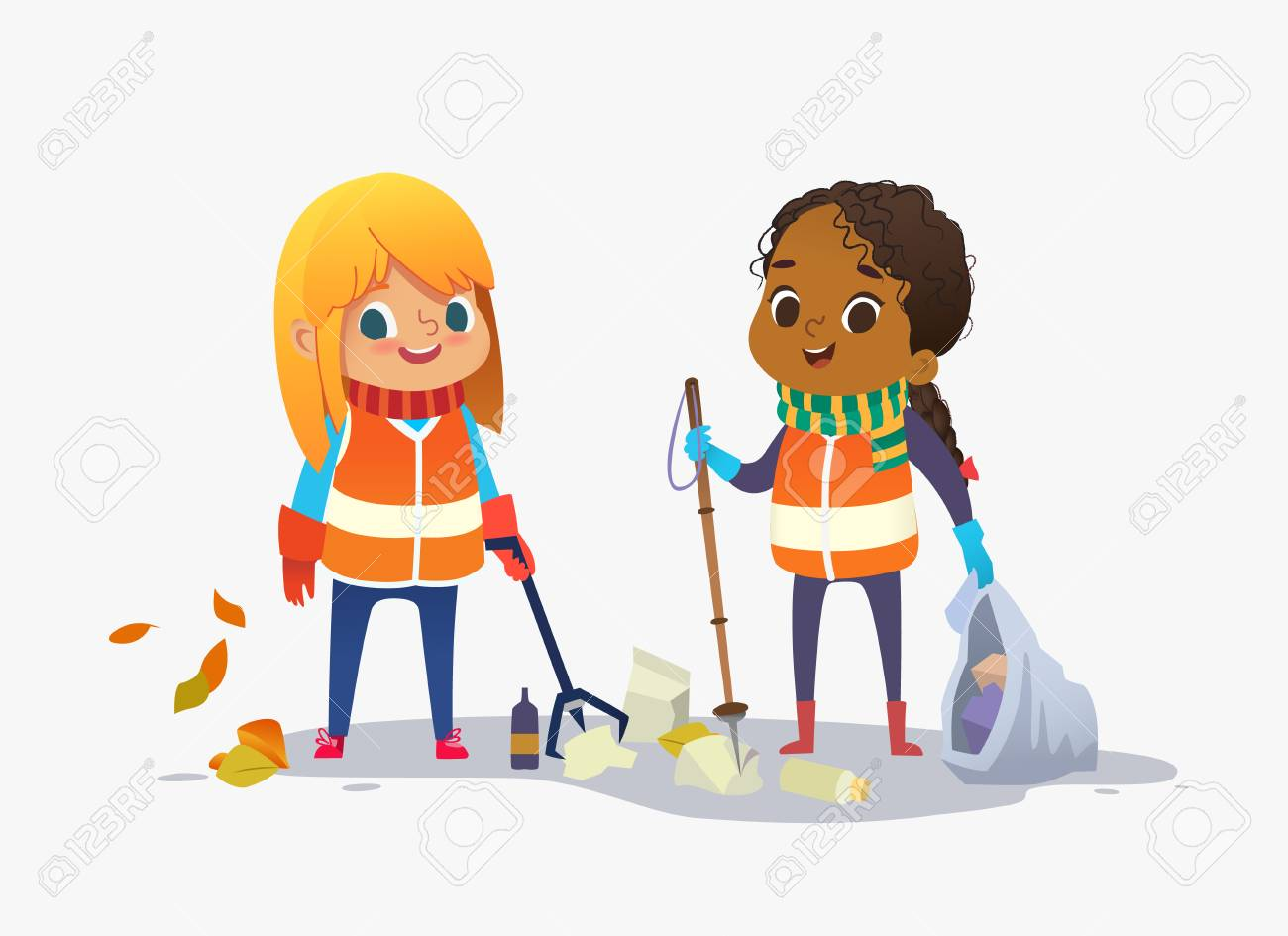 Two girls wearing unoform collect rubbish for recycling at park. Kids gathering plastic bottles and garbage for recycling. Boy throws litter into bin. Early childhood education.Vector. Isolated. - 115115430