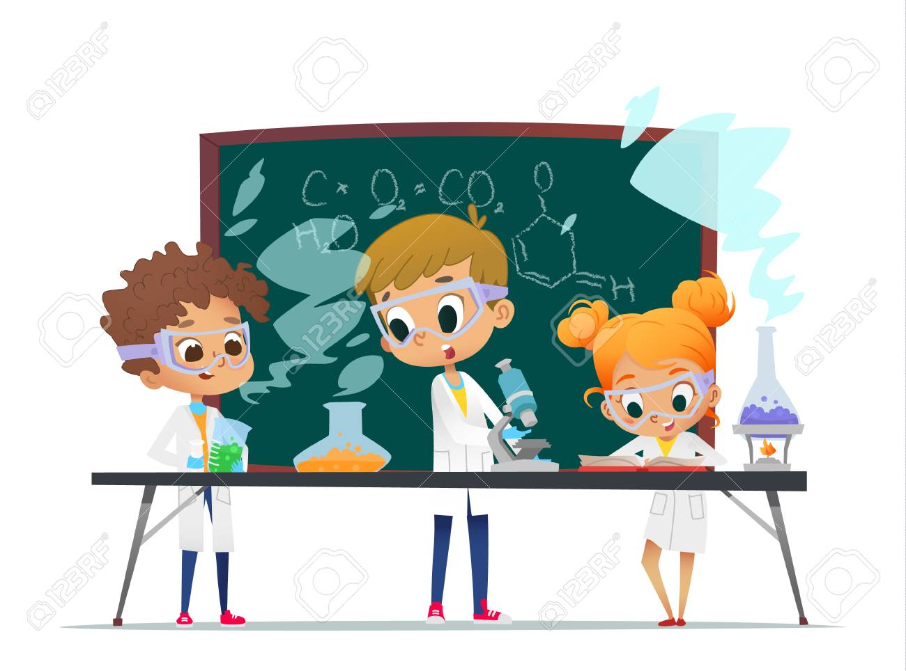Funny little girl doing experiments in the laboratory. Explosion in the laboratory. Science and education. - 112375628