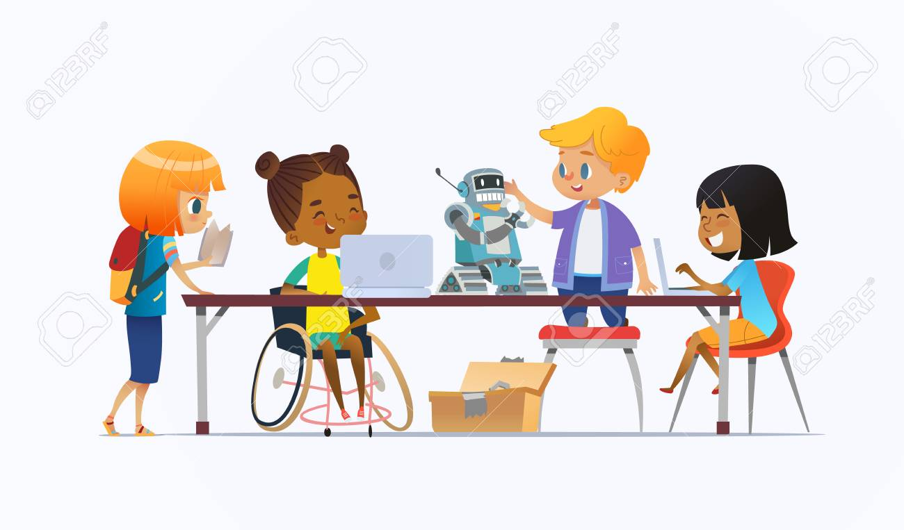 Disabled African American girl in wheelchair and other children standing around desk with laptops and robot and working on school project for programming lesson. Concept of inclusion at school. - 112299222