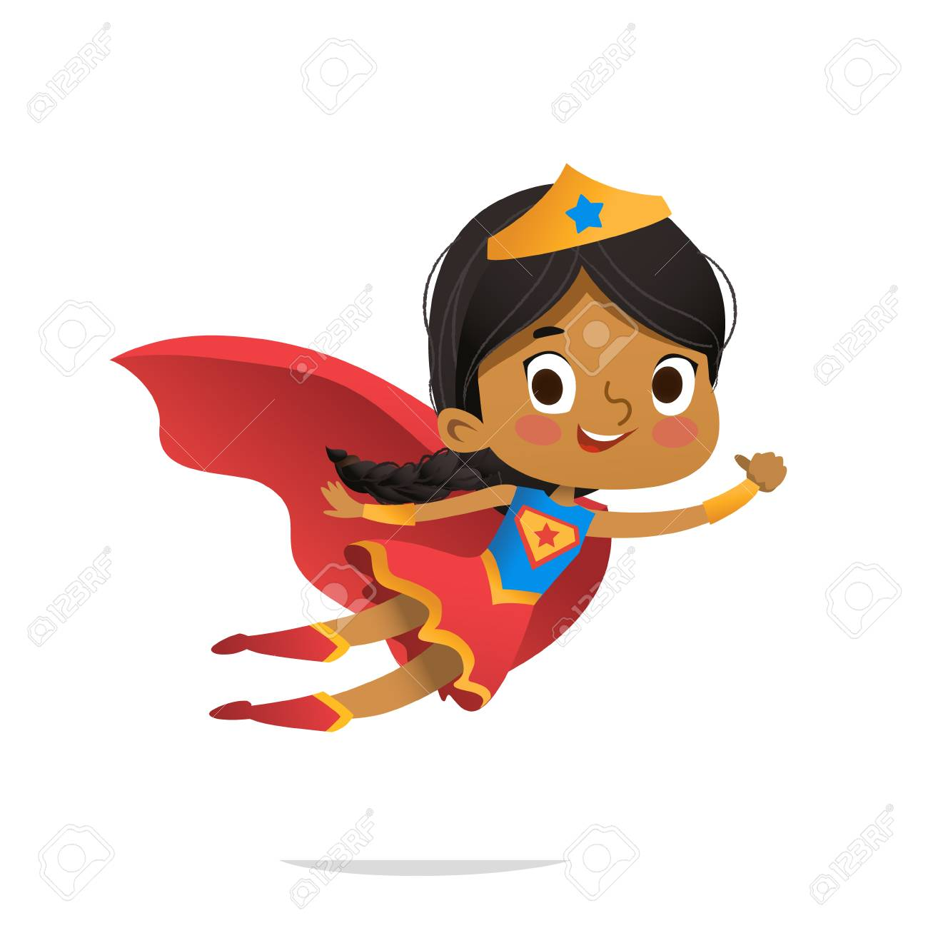Flying African-American Girl wearing colorful costumes of superheroe, isolated on white background. Cartoon vector characters of Kid Superheroes, for party, invitations, web, mascot - 105818184