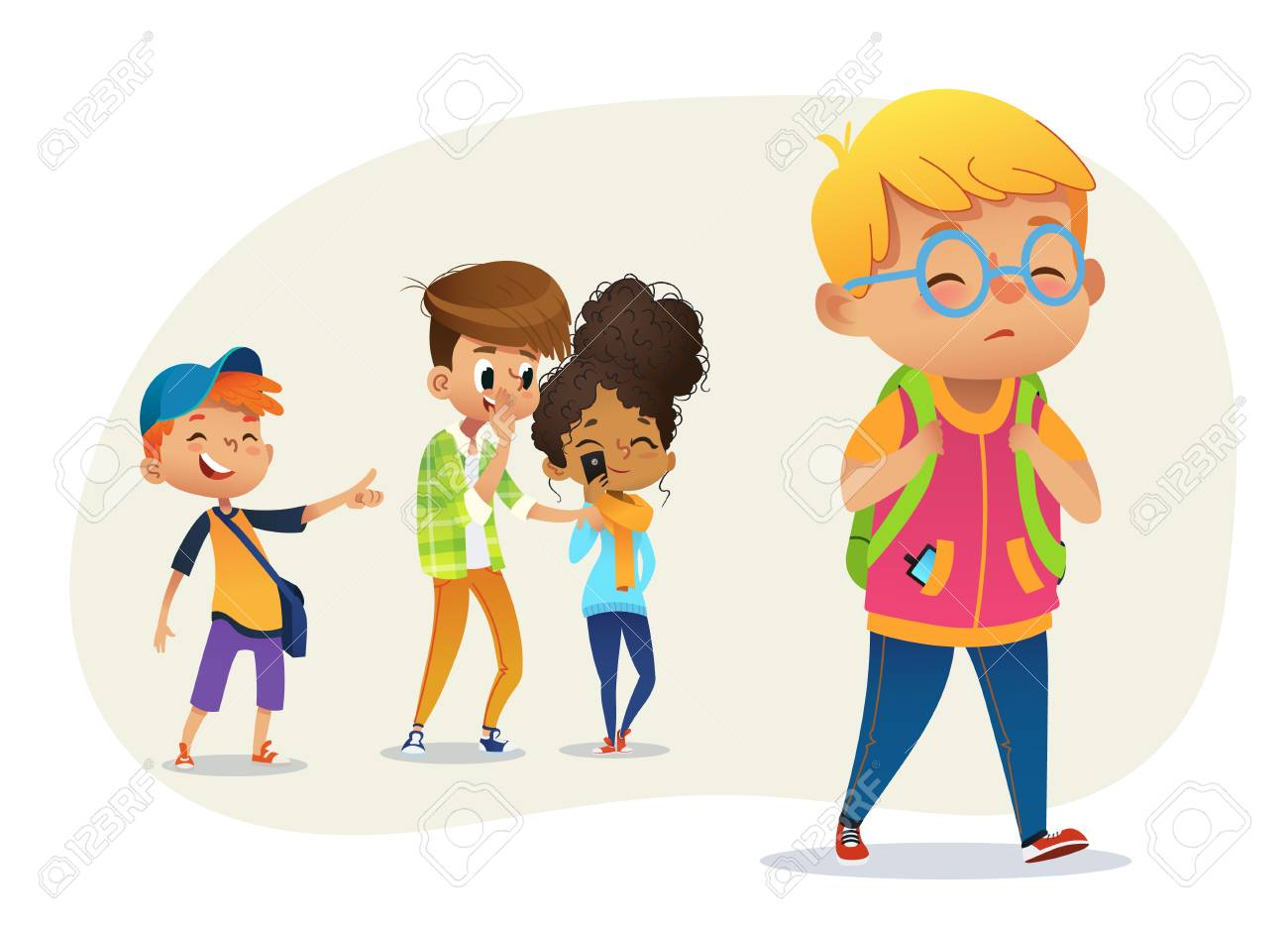 Sad overweight boy wearing glasses going through school. School boys and gill laughing and pointing at the obese boy. Body shaming, fat shaming. Bulling at school. Vector illustration. - 112085550