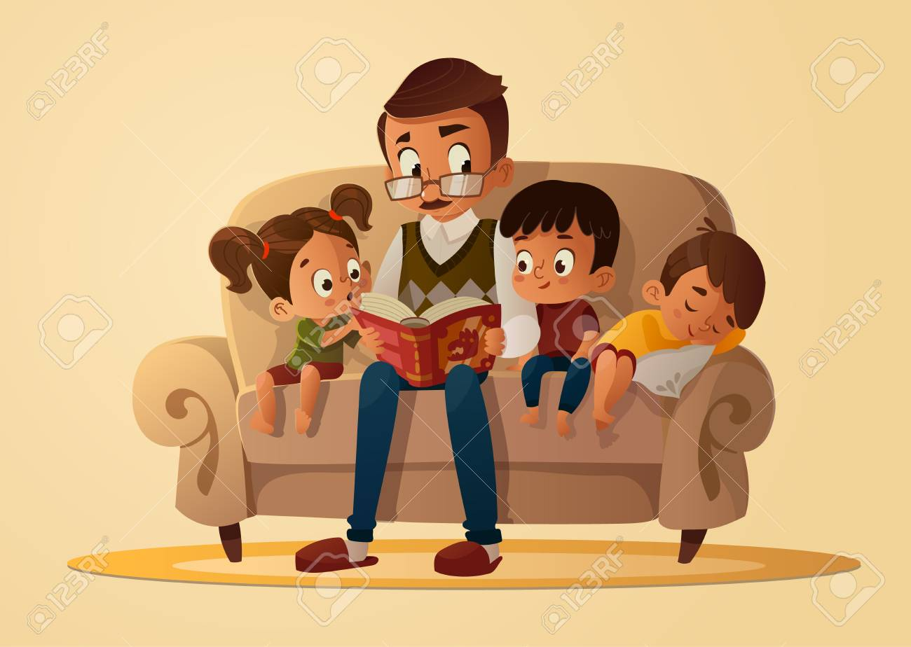 Grandfather sitting with grandchildren on a cozy sofa with the book, reading and telling book fairy tale story. Boys and girl listen to him. Vector cartoon illustration. Cozy family evening. - 111903803