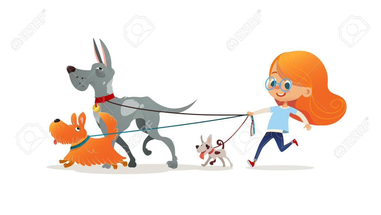 Little redhead girl walking three dog on leash. Cute child running with doggies. Adorable kid with red hair and her pets isolated on white background. Flat cartoon colorful vector illustration. - 111716571