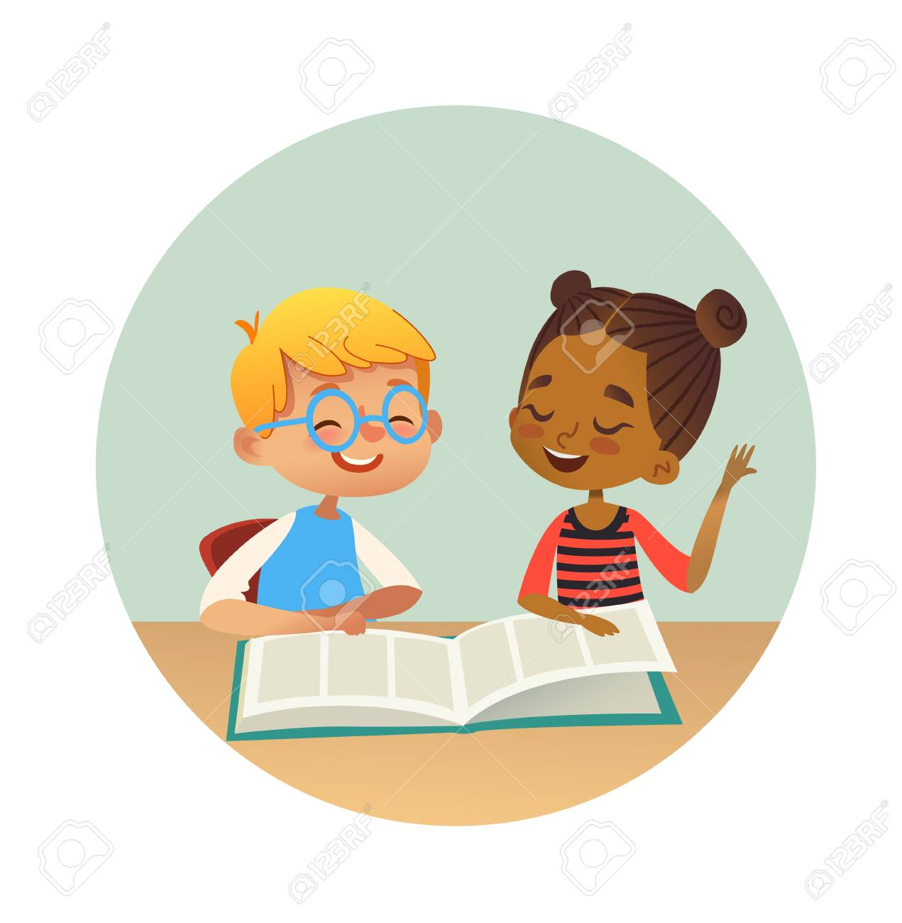 Smiling multiracial boy and girl reading books and talking to each other at school library. School kids discussing literature in round frames. Cartoon vector illustration for banner, poster. - 107381276