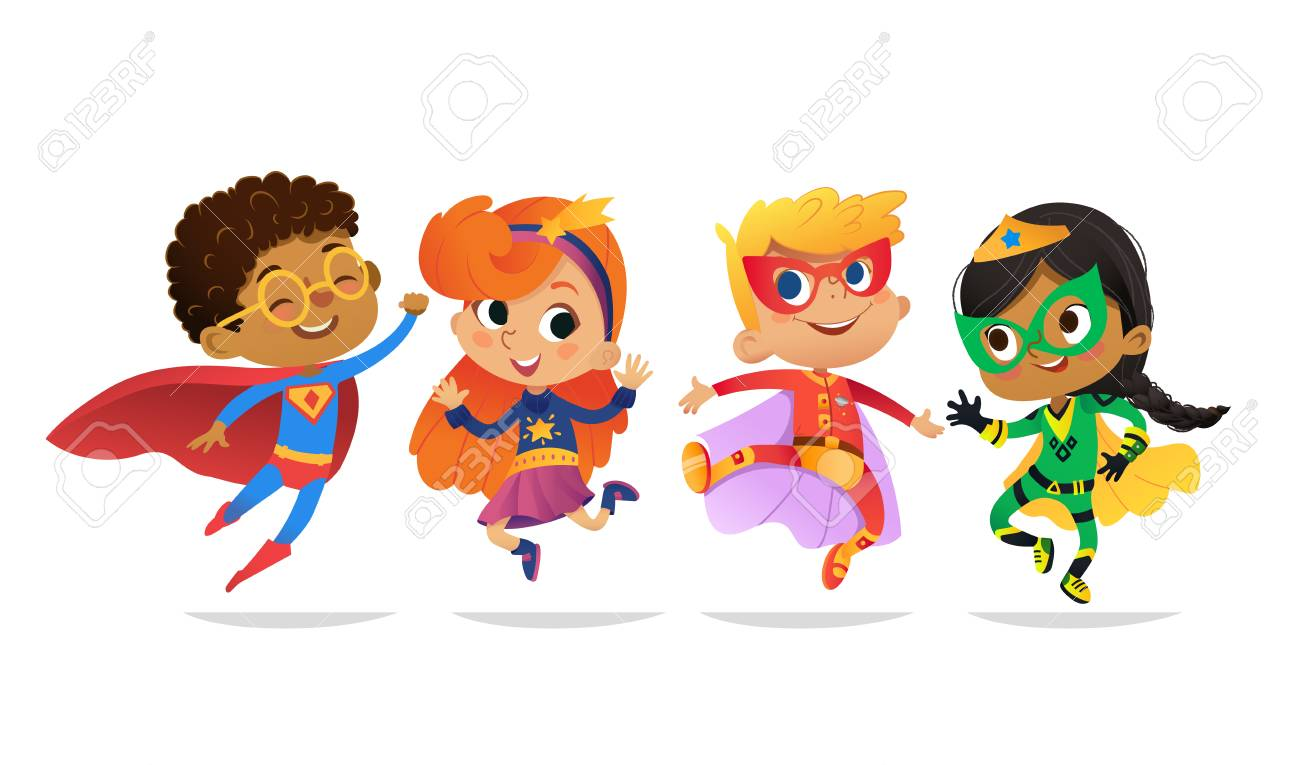 Multiracial Boys and Girls, wearing colorful costumes of superheroes, happy jump. Cartoon vector characters of Kid Superheroes, isolated on white background. for party, invitations, web, mascot. - 113650233