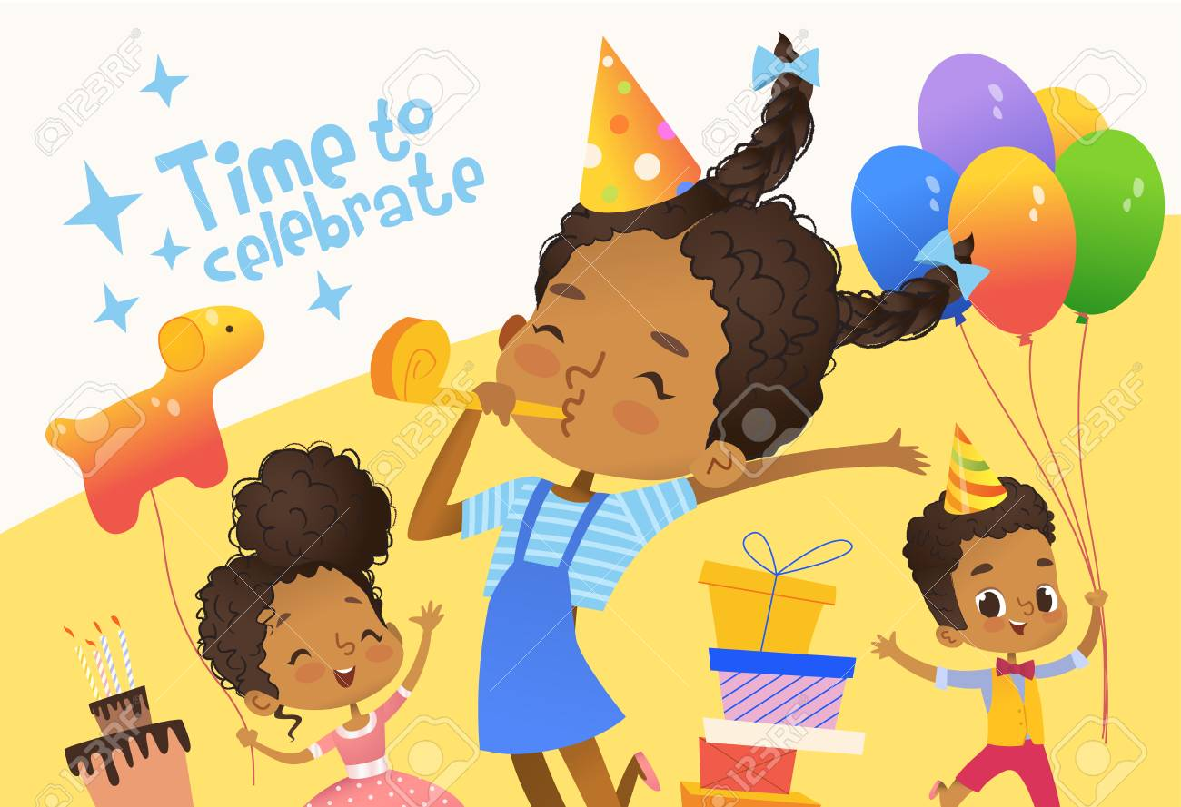Joyous African American Kids In Birthday Hats And Balloons Happily Jump Cute Rabbits