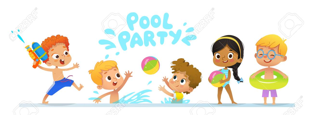 Pool party Invitation template baner. Multiracial Children have fun in pool. Redhead boy with a toy water gun jumping in a pool. Children playing with a ball in the water - 110255329