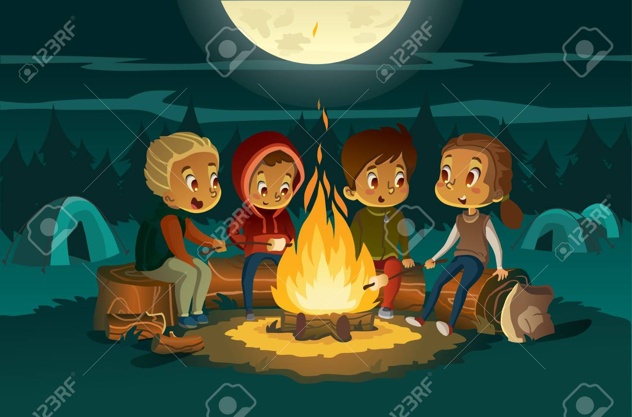 Kids camping in the forest at night near big fire. Children sitting in a cearcle, tell scary stotys and roast marshmallows. Tents in the background. Adventure and exploration concept. Vector - 110108714