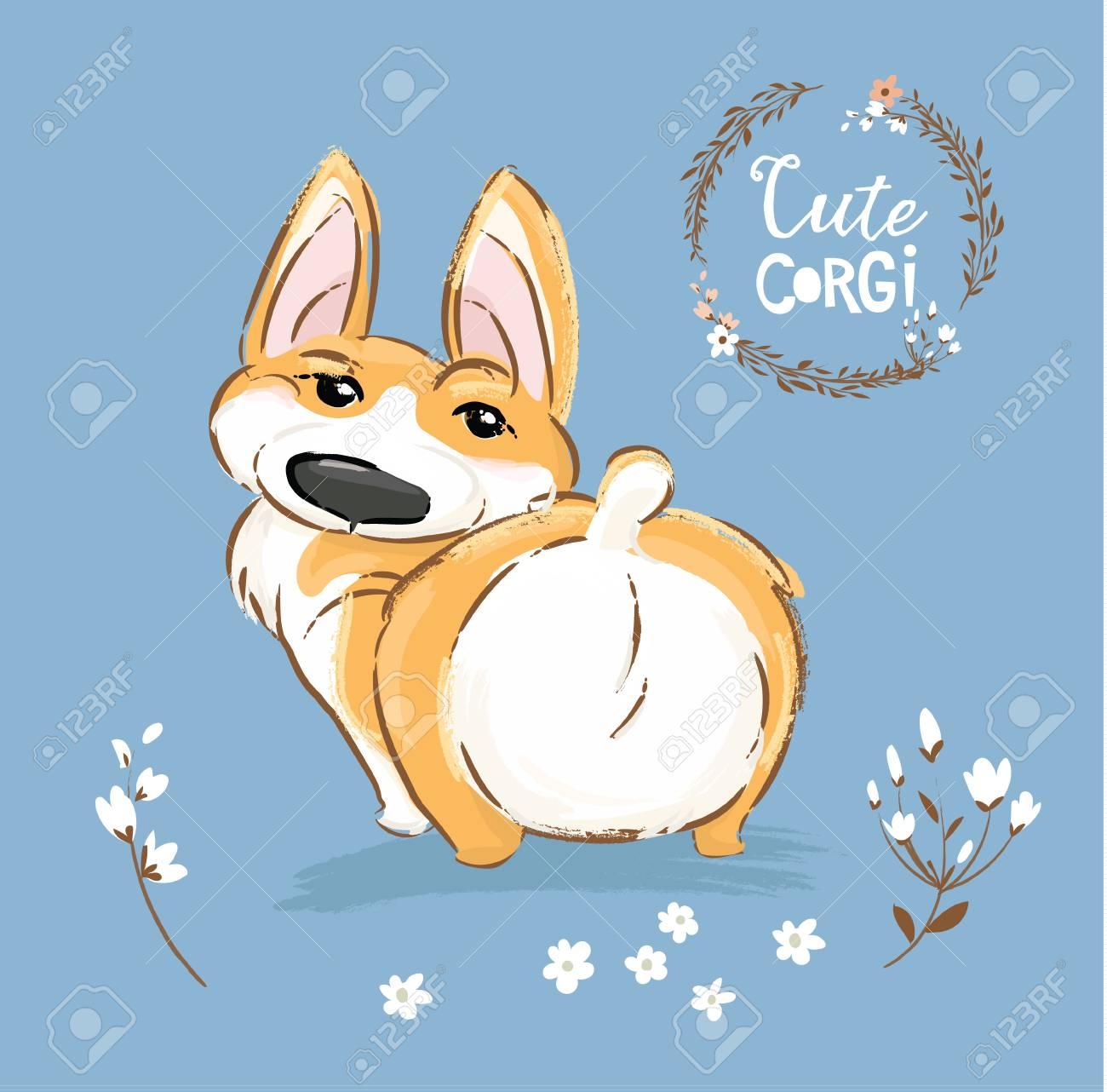 Cute Corgi Dog Puppy Back Tail Vector Illustration Pretty Fox Royalty Free Cliparts Vectors And Stock Illustration Image 125253994