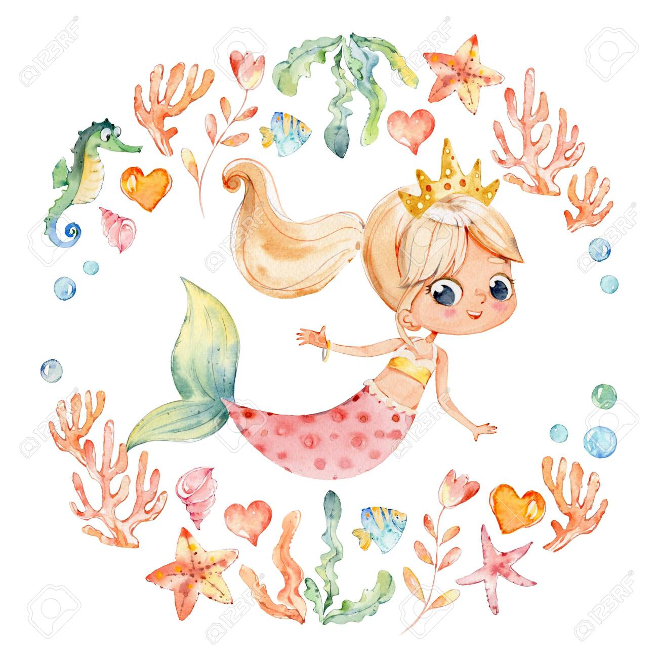 Mermaid Watercolor Surrounded By Frame Of Sea Elements Sea Horse Stock Photo Picture And Royalty Free Image Image 124273463