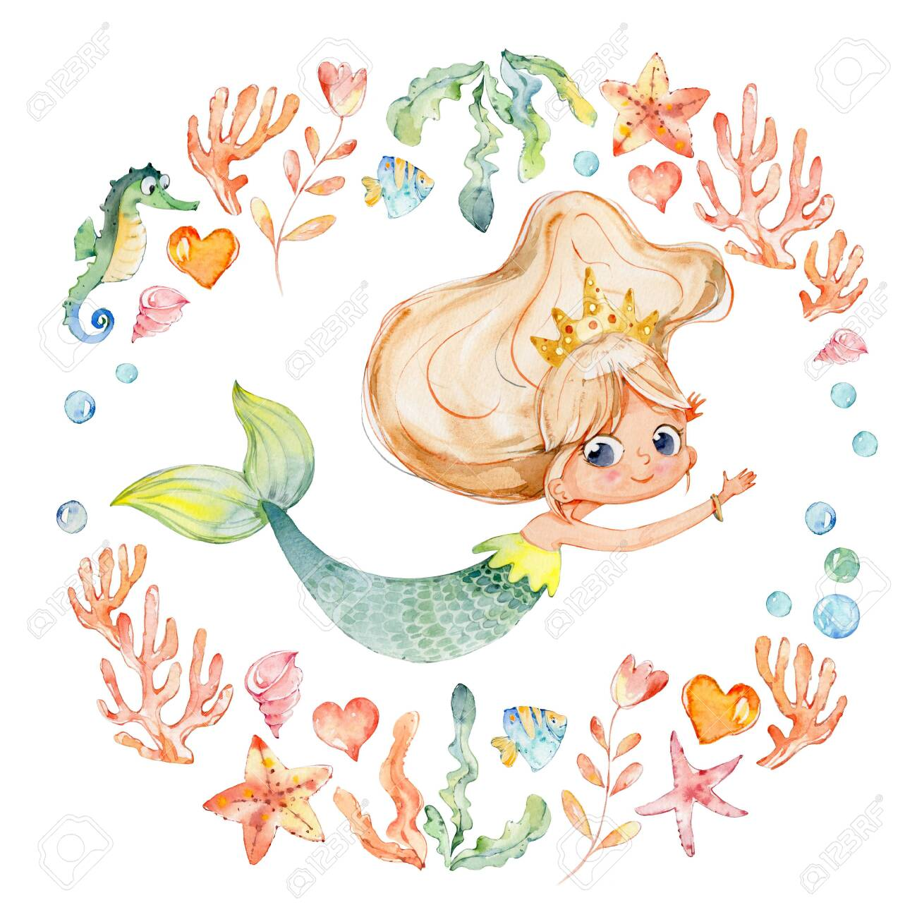 Mermaid Watercolor Surrounded By Frame Of Sea Elements Sea Horse Stock Photo Picture And Royalty Free Image Image 124273527