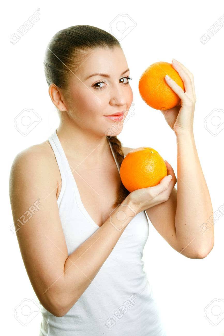 Beautiful girl with two juicy oranges Stock Photo - 18381520