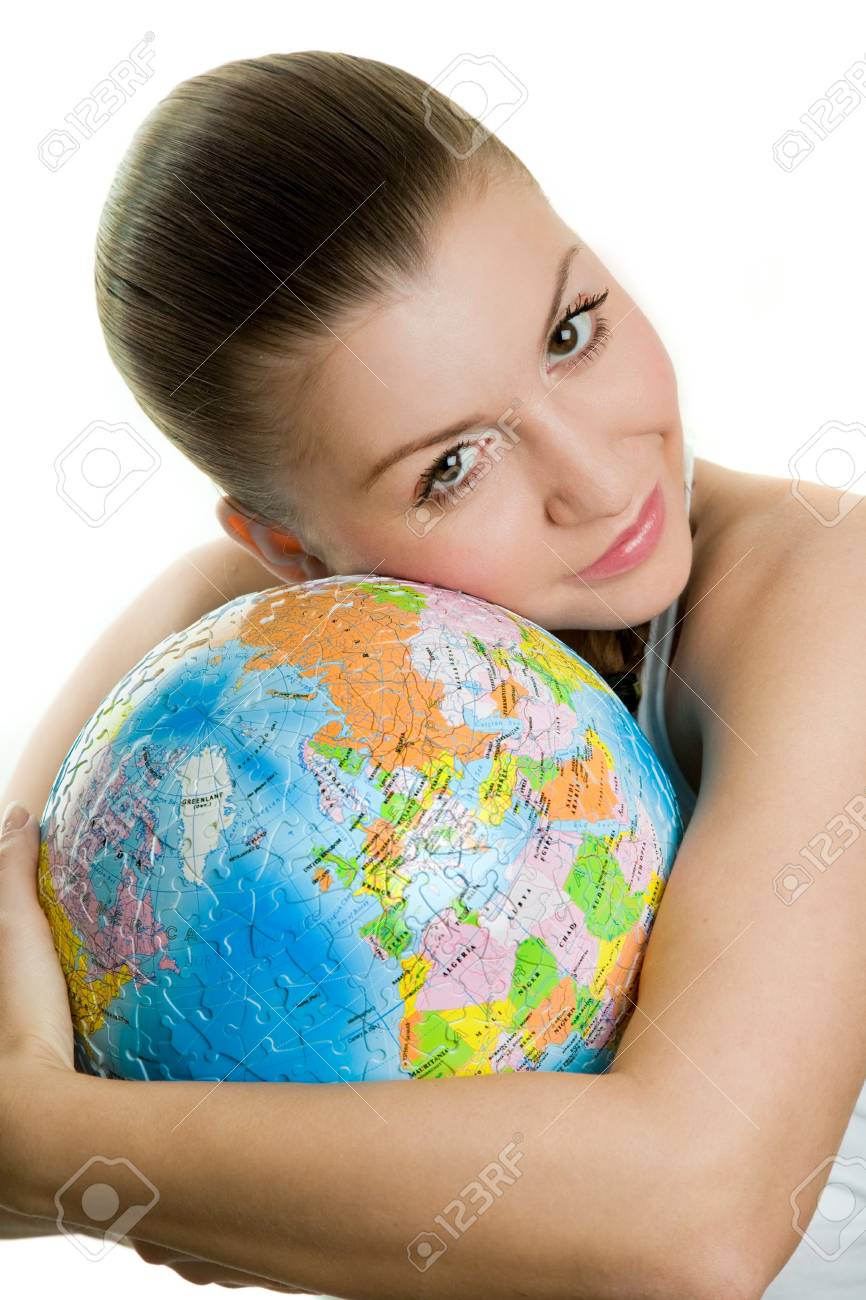 Girl with a globe of the world over white background Stock Photo - 18411916