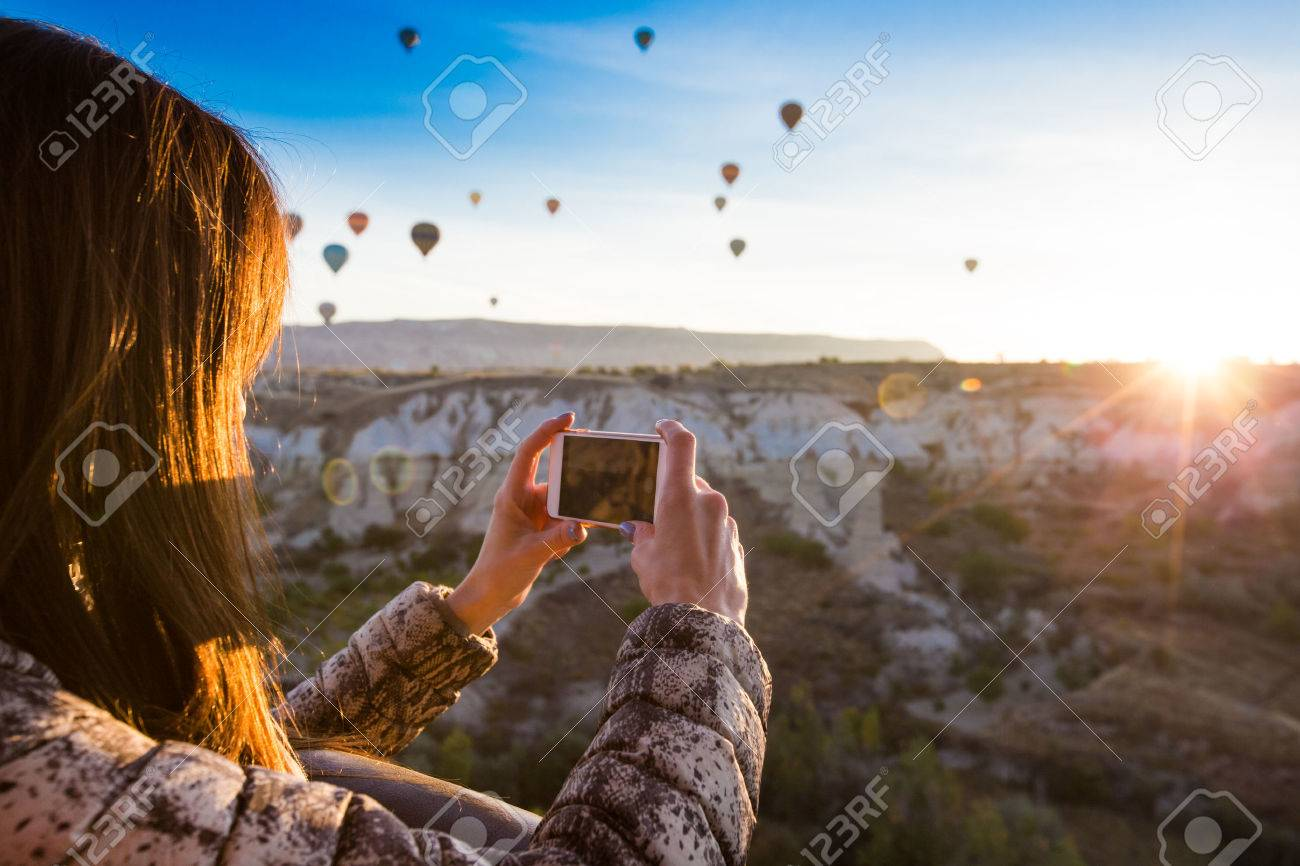 lonely traveler looking into the Cappadocia, Central Anatolia, Turkey - 53119010