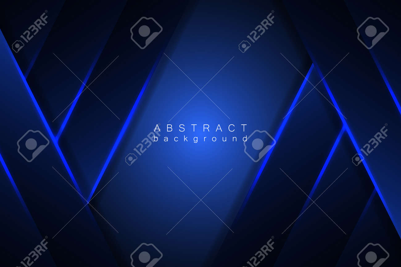 Abstract blue background modern graphic design. Blue geometric shapes, shimmering stripes and lines on a dark gradient. - 168293886