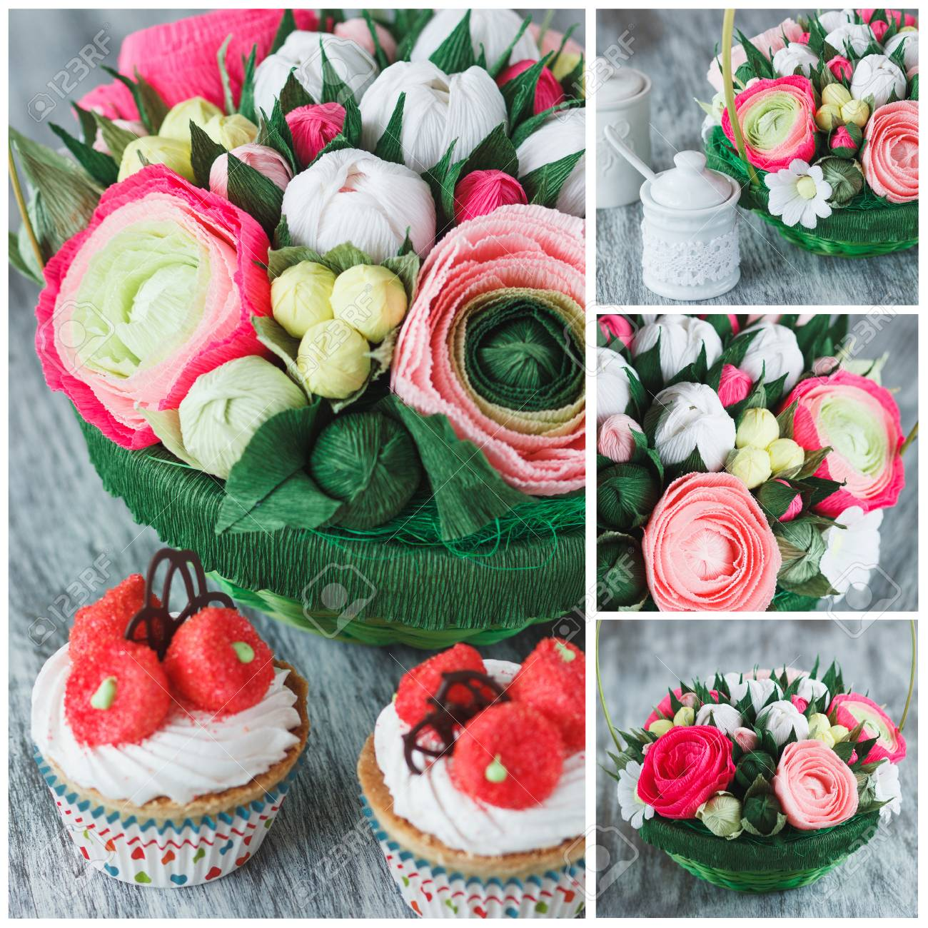 Bouquet from colored paper flowers and cupcakes soft focus bouquet from colored paper flowers and cupcakes soft focus background stock photo 98400313 izmirmasajfo