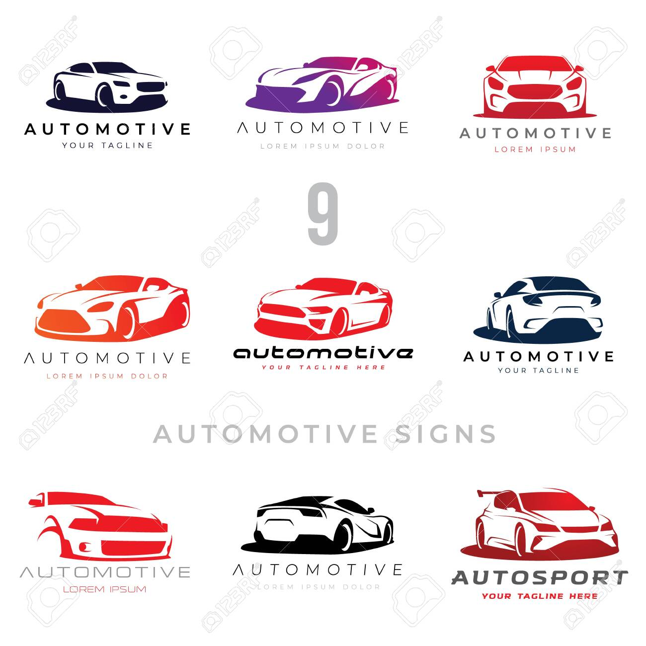 Set of 9 automotive car illustration signs for your projects - 144873449