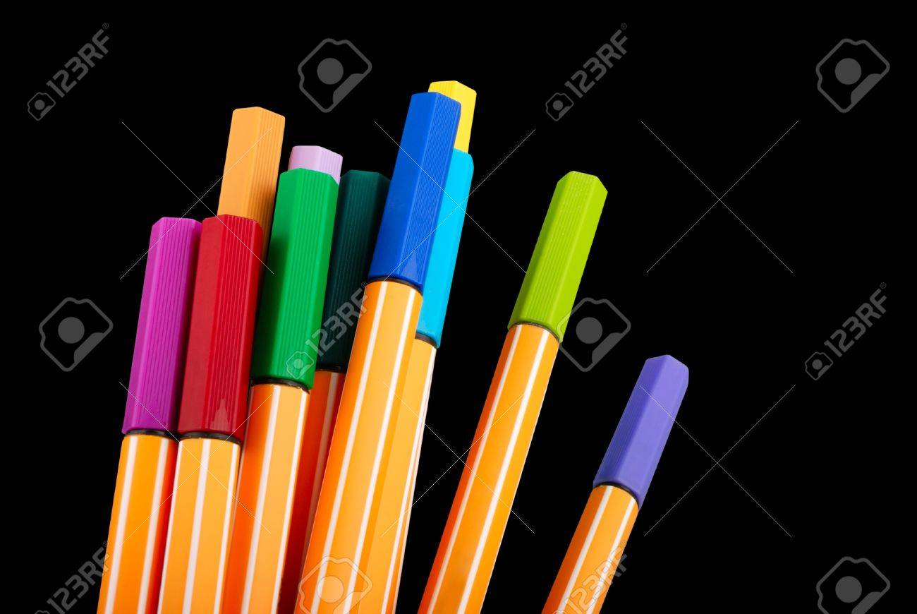 12 colourful highliter pens  isolated on black Stock Photo - 13140152